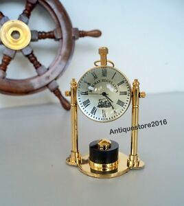 Clocks Vintage Beautiful Nautical Desk Table Clock With Red Leather Designer Clock