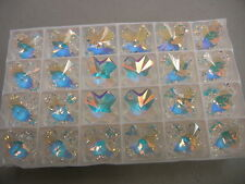 4 swarovski vintage cross pendants(top drilled)20mm crystal AB #6866