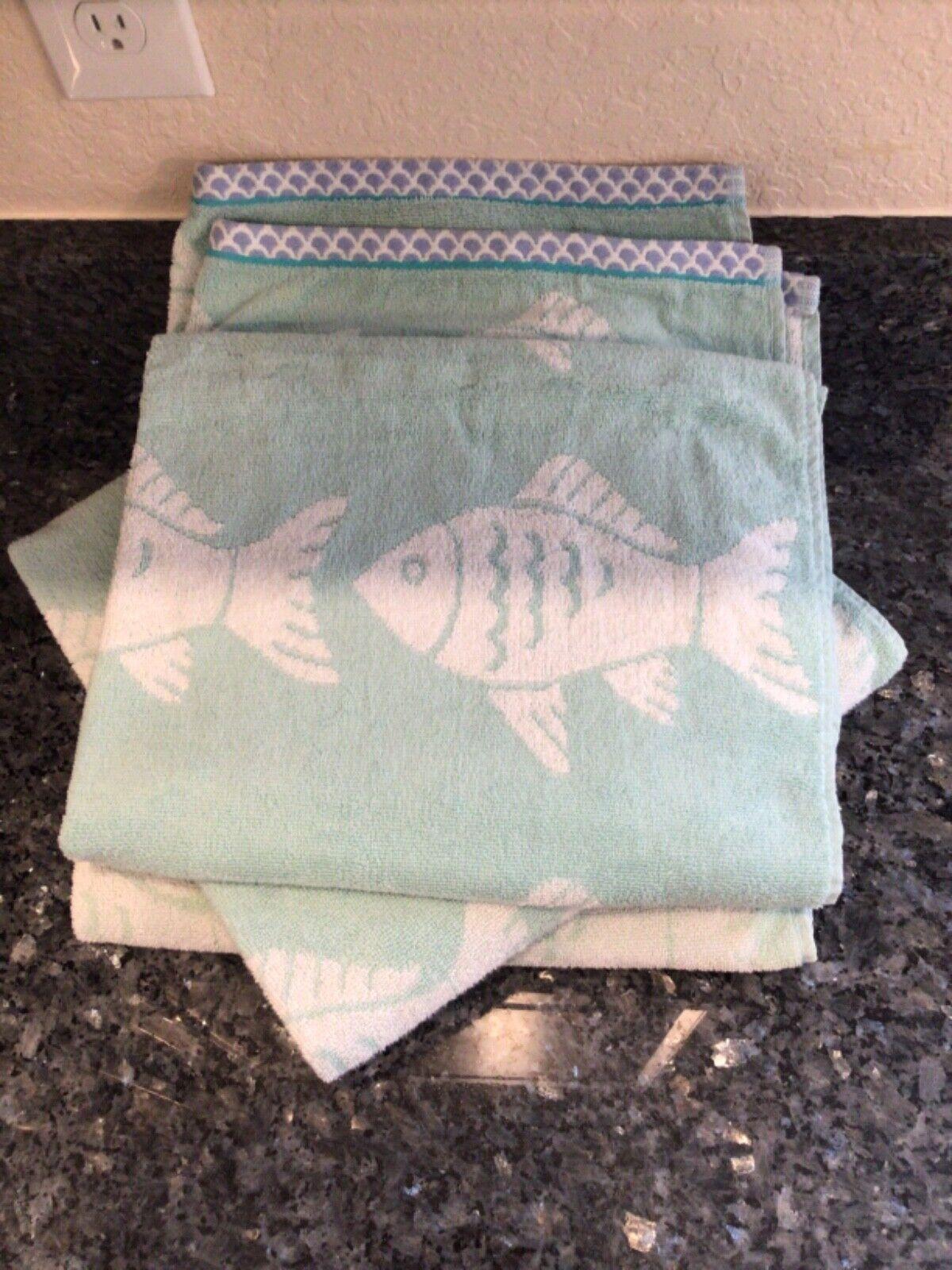 3 Kingsley Home 100% Cotton BathTowels Fish Pattern Mint Green Blue Shell Trim