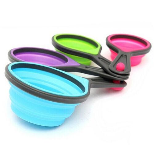 Sains silicone Measuring Cups Cuillère Cuisine Outil Démontable Baking Cook ES