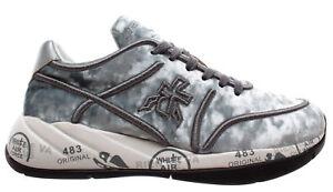 PREMIATA-Scarpe-Donna-Sneakers-Liu-3499-Tessuto-Tecnico-Argento-Nuove