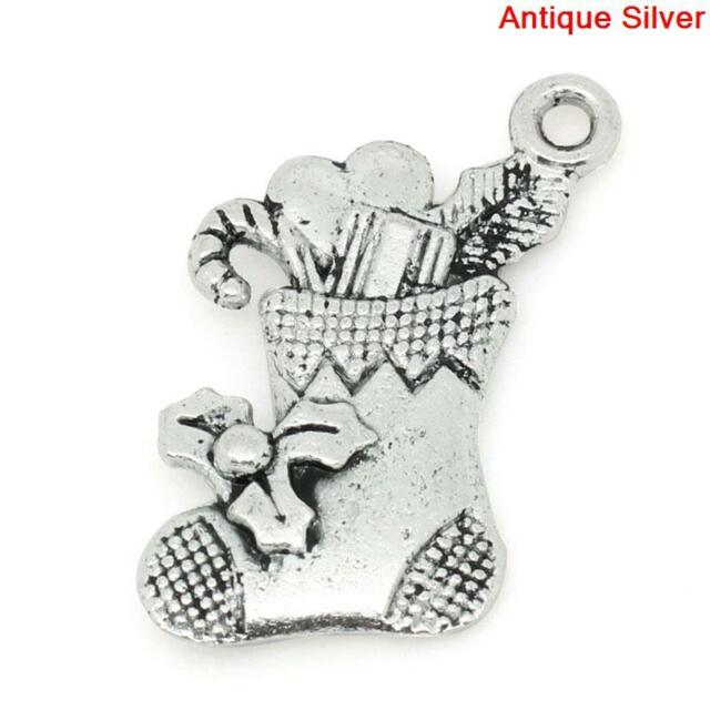 15 ANTIQUE SILVER CHRISTMAS PRESENT//GIFT CHARMS ~15x16mm~Cards~Wine Glass X73