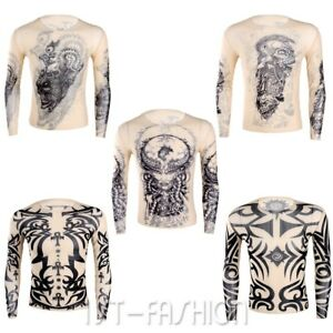 Hots-Men-Casual-3D-Tattoo-T-shirt-Long-Sleeve-Clubwear-Undershirt-Crop-Tank-Tops