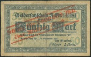 KARALIAUCIUS 50 Mark (1922) banknote Germany Lithuania Konigsberg