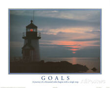 Goals Motivational Lighthouse Art Print POSTER quality Mini Poster Print, 20x16