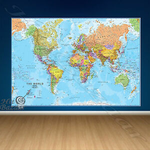 Wall world map giant poster political laminated mural large huge wall world map giant poster political laminated mural gumiabroncs Images