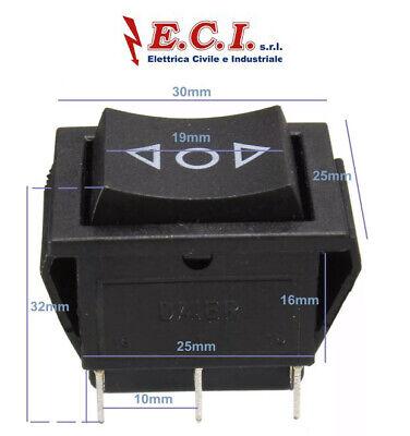 interruttore momentaneo 3 posizion con ritorno 21x15mm 6 A 250 V AC 3 terminali
