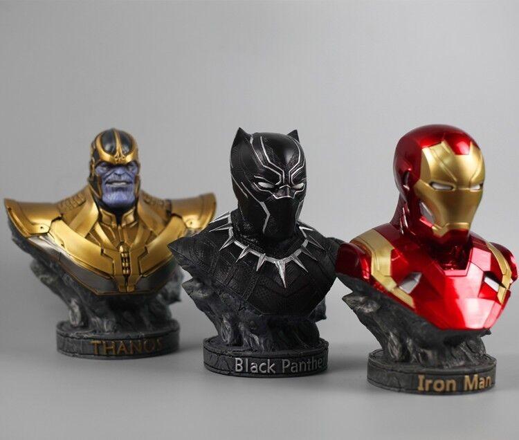 "Avengers Infinity War THANOS/Iron Man/PANTERA NERA Figura RESINA Statua 7""H"