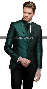 Pablo-CASSINI-Designer-completo-Uomo-verde-nero-vestito-matrimonio-NUOVO-PC