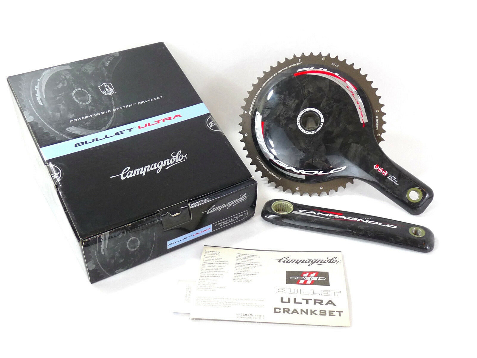 Campagnolo Bullet Crankset Carbon 11 Speed 175mm 52 36  USB CERAMIC BEARINGS NOS  free and fast delivery available