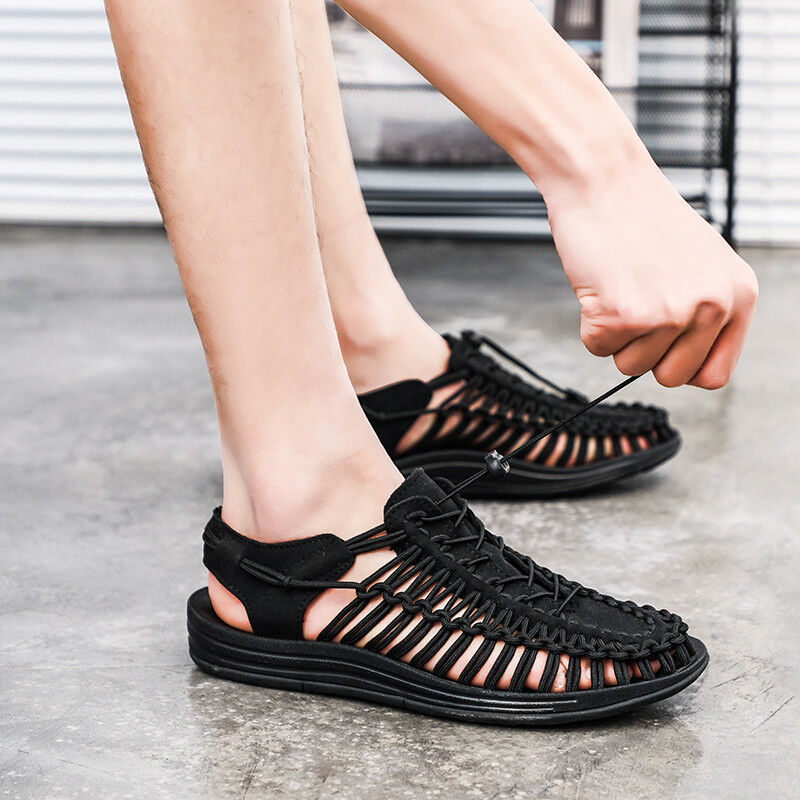 Mens Summer Gladiator Roman Hollow out Strapped Sandals Sport Flat Beach shoes