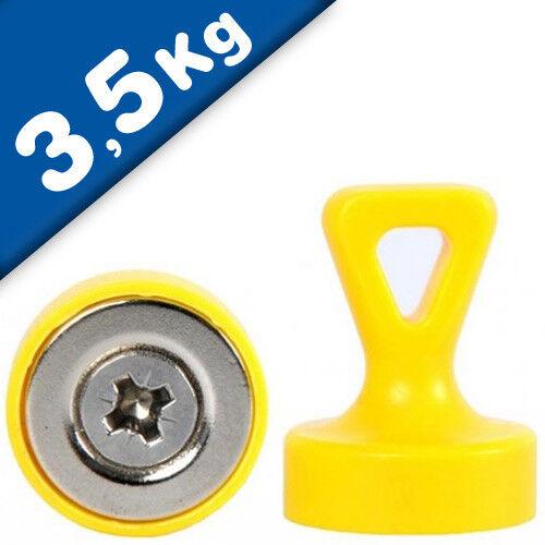 gelb Haftkraft 3,5 kg 4 x Griffmagnet mit Öse Neodym N35 Ø 17 x 22 mm