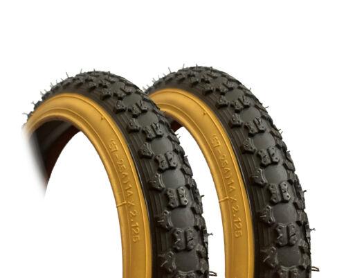 57-254 Square treads Kids Bike Tyres Black with Tan Sidewalls 2pk 14 x 2.125
