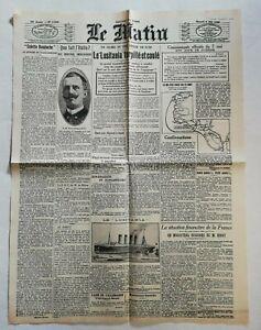 N954-La-Une-Du-Journal-Le-Matin-8-mai-1915-lusitania-torpille-et-coule