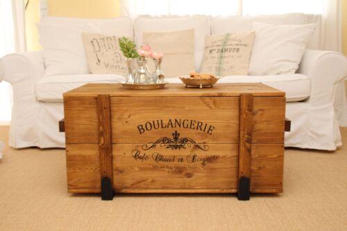Truhe Couchtisch Holz massiv Wohnzimmertisch Truhentisch Kiste vintage shabby M
