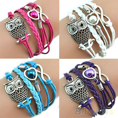 INFINITY OWL HEART PEARL FRIENDSHIP LEATHER CHARMS BRAIDED MULTILAYER BRACELET