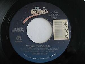 Celine-Dion-Think-Twice-L-039-Amour-Existe-Encore-45-1994-Epic-Vinyl-Record