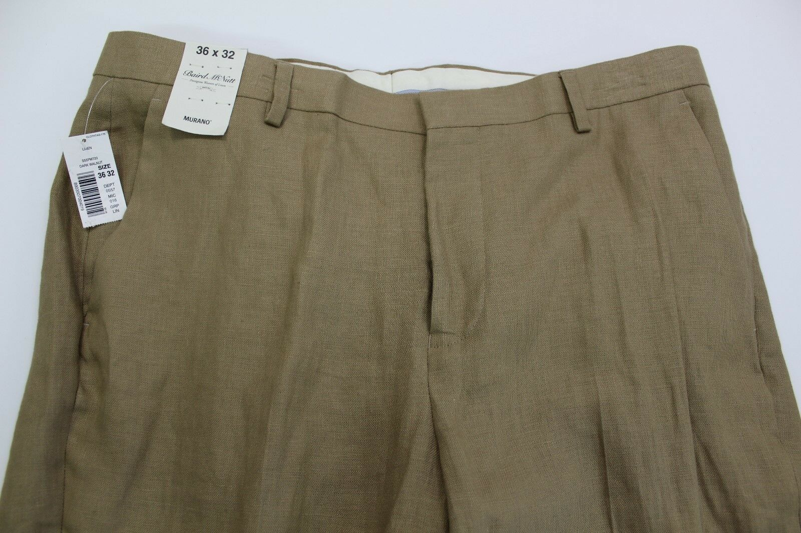 Men's MURANO Walnut Tan Khaki LINEN Dress Pants 36x32 NEW NWT Baird McNutt
