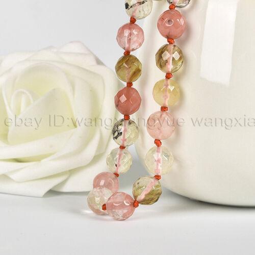 6//8//10// 12mm Faceted Watermelon Tourmaline Quartz Round Gemstones Beads Necklace