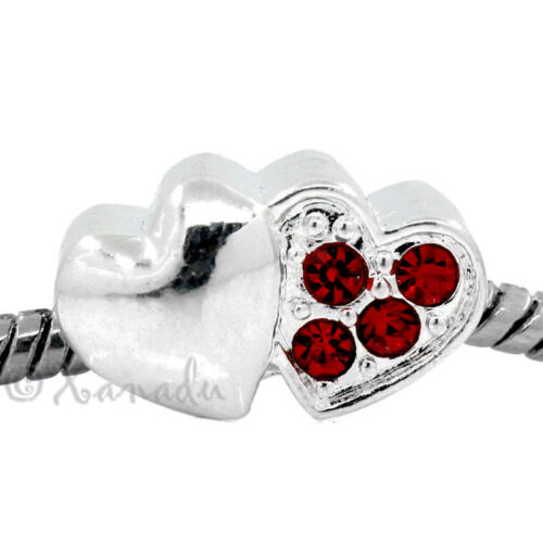 Hearts Euroepan Bead With Ruby Red Rhinestone Accents For Charm Bracelets