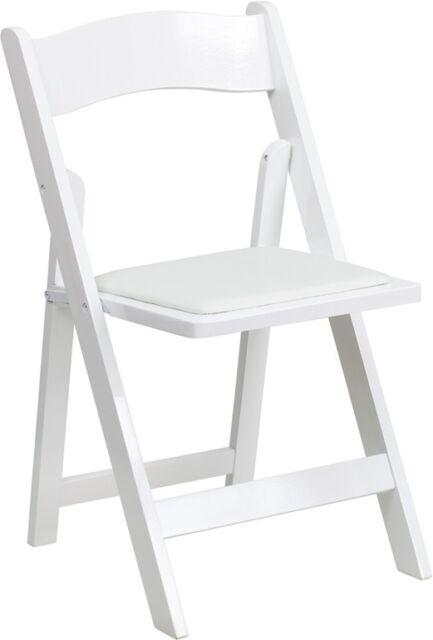 (4 PACK) White Wood Folding Chair w/ Vinyl Padded Seat - Wedding Folding Chair
