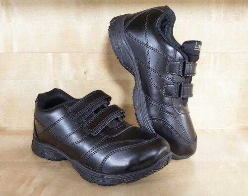BOYS School Black Durable Shoes Kids Junior Sizes Hook Loop Latches UK Seller