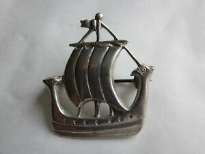 RETRO-SOLID-STERLING-SILVER-VIKING-SHIP-LONGBOAT-BROOCH