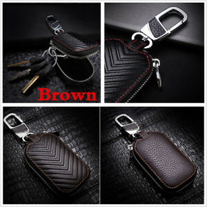 NEW Genuine Leather Universal Key Fob Holder Bag Cover Key Case For Car Auto SUV