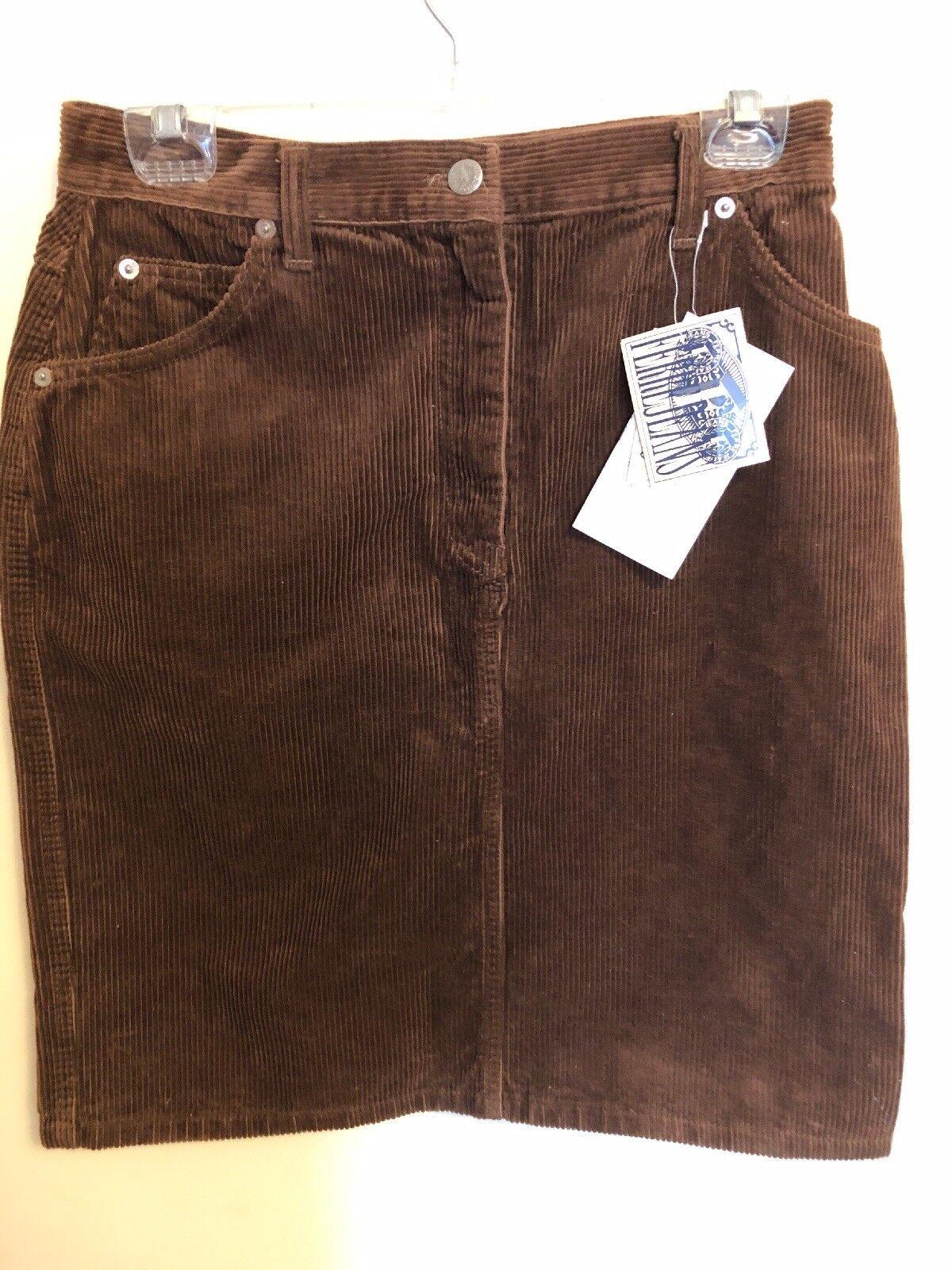 Ferre Jeans Made In  Corduroy braun Pencil Skirt 5-Pockets, Größe 31, New