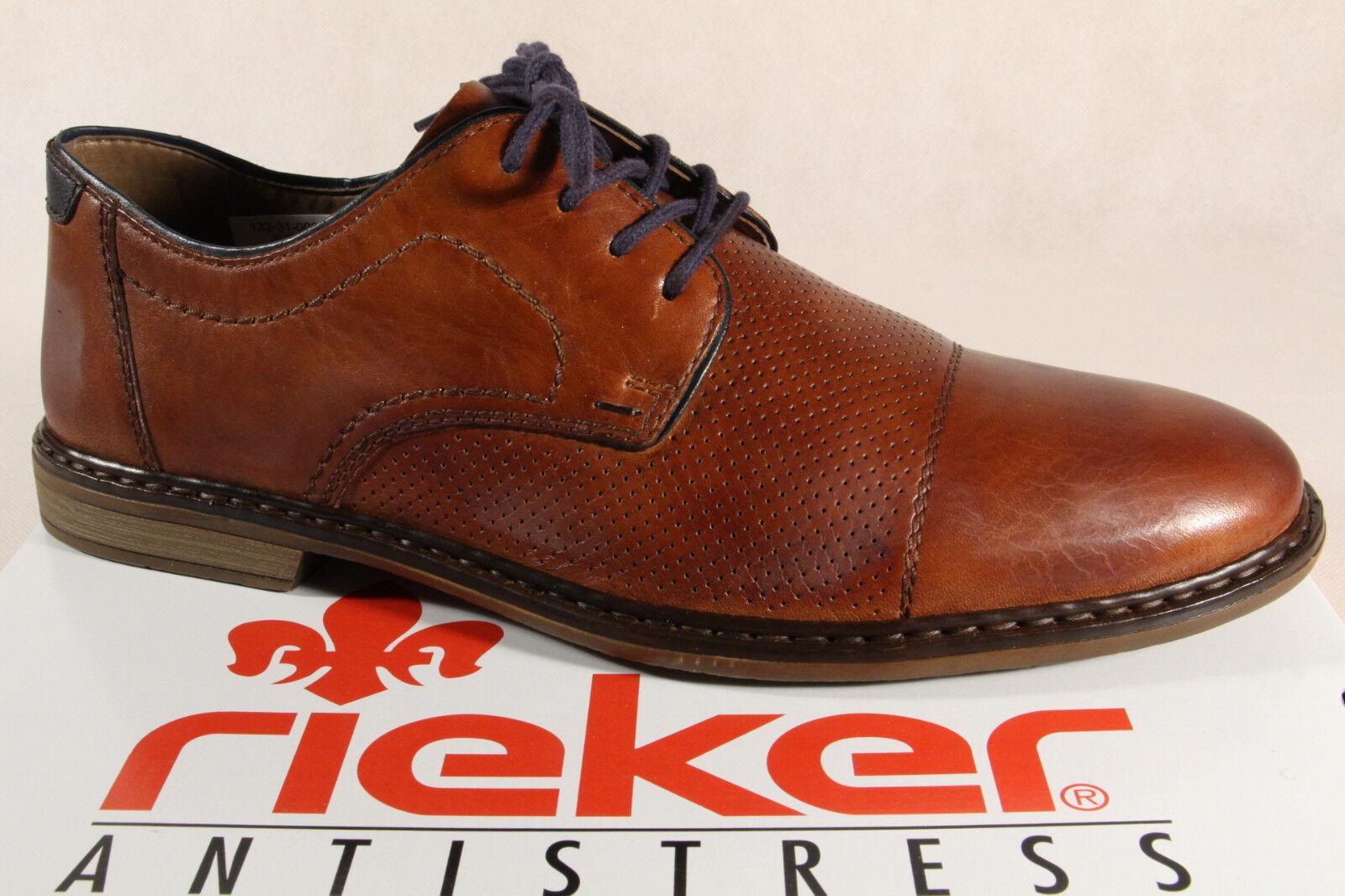 Rieker Homme à Lacets, Chaussures Basses paniers Cuir Marron 13428 Neuf