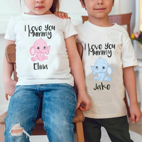 Kids Personalise Your Name Love You Mummy Mothers Day T-shirt Cute Childrens Tee