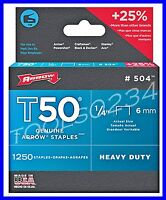 Genuine Arrow Staples T50 1/4 1,250 Box 504 Made In Usa Free Ship