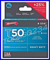 Genuine Arrow Staples T50 1/4 1,250 Box 504 Made In Usa Free Ship