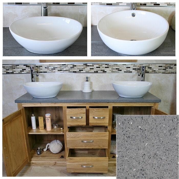 Rovere MASSELLO Armadietto Armadietto Armadietto bagno Mobiletto Grigio Quarzo & Bianco in Ceramica Bacino 603 A 6f42f7