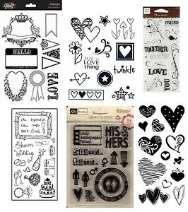 6-Sets-Clear-Stamps-Love-Pack-Hearts-Wedding-Valentine-039-s-Together-Shower