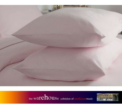 Pair Of Pink Pillow Cases 250 Thread Count Poly Cotton Percale Polycotton 250TC