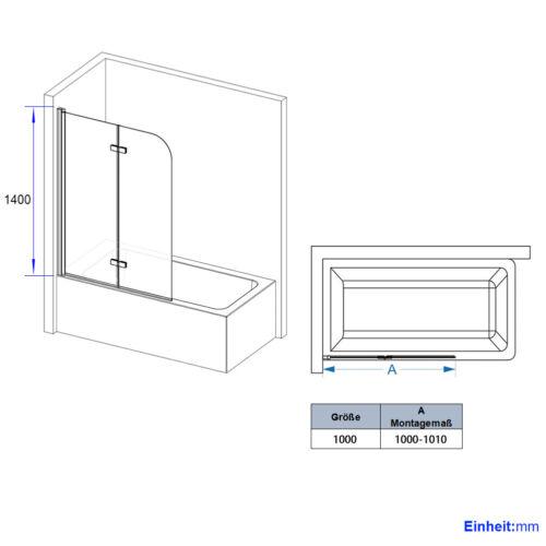 Duschabtrennung Badewannenaufsatz Faltbar Dusche Badewannen Faltwand 100x140cm