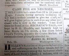1836 Washington Globe DC newspaper w frnt pg AD -Wanted to buy: 400 NEGRO SLAVES