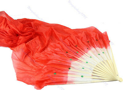 HOT! Colorful Hand Made Belly Dance Dancing Silk Bamboo Long Fans Veils 4 Colors