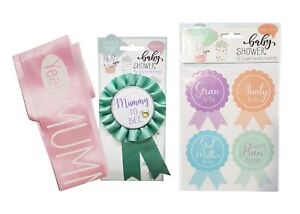 Baby-Shower-Bundle-039-Mummy-To-Bee-039-Satin-Rosette-Badge-12-Guest-Stickers-Sash