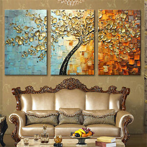 Image Is Loading 3 Pieces Acrylic Canvas Painting Modern Abstract Flower