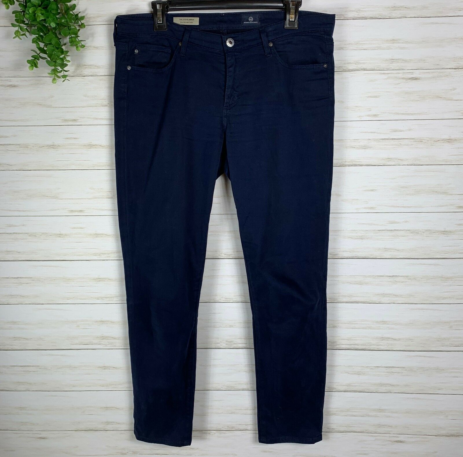 Women's Adriano goldschmied Slim Straight Ankle Pants sz 30 bluee felt