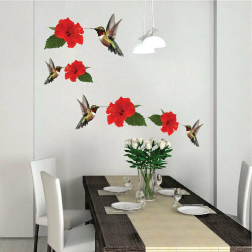 a01 Hummingbirds Red Flowers Floral Animal Vinyl Hummingbird Wall Decal Mural