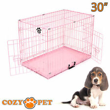 Dog Cage Puppy Crate Pink Show Showing Training Cozy Pet 30 inch Dog Crate