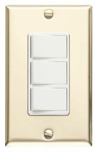 Broan 65W 3-Function Switch Polished Brass with White Switches