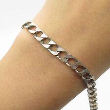 Italy 925 Sterling Silver Thick Heavy Wide Men's Cuban Link Bracelet 7 3/4