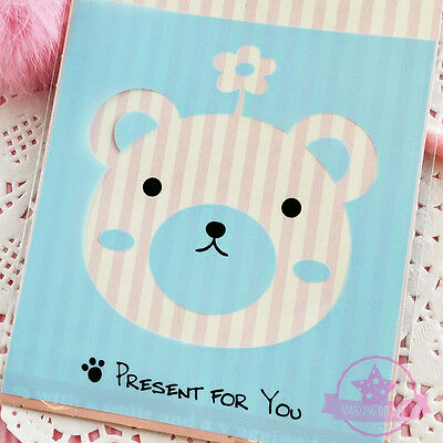 10 pcs Blue Bear Self Adhesive Plastic Jewelry Cookie Packing Bags