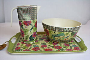 Saftkaraffe-Salatschuessel-Tablett-Kunststoff-Retro-Vintage-Geschenk-Garten-Palme