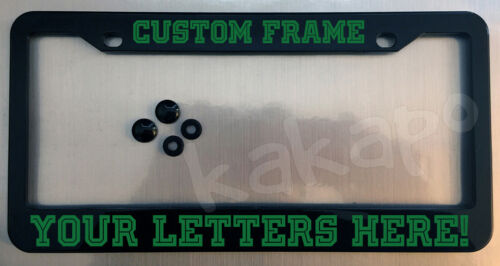 Custom personalized black license plate frame screw covers COLOR CHOICE Font10