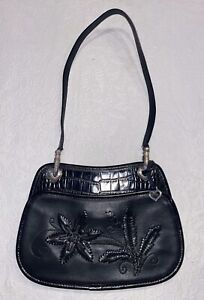 Brighton-Black-Embroidered-amp-Croc-Embossed-Leather-Demi-Bag-RARE
